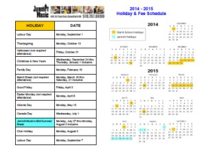 Jammit Music's Studio Calendar and Fee schedule.